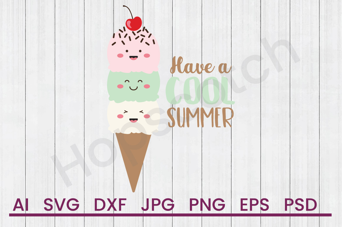 Ice Cream SVG, Cool Summer SVG, DXF File, Cuttatable File example image 1