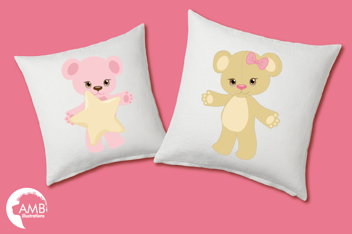 Teddy bear, nursery, baby girl, baby pink bear, clipart, graphics, llustrations AMB-1450 example image 2