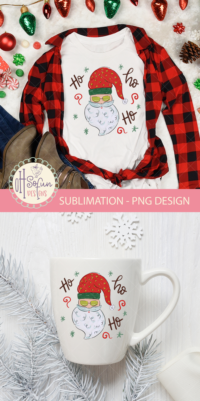 Santa claus ho ho ho, Christmas sublimation png, doodle example image 3
