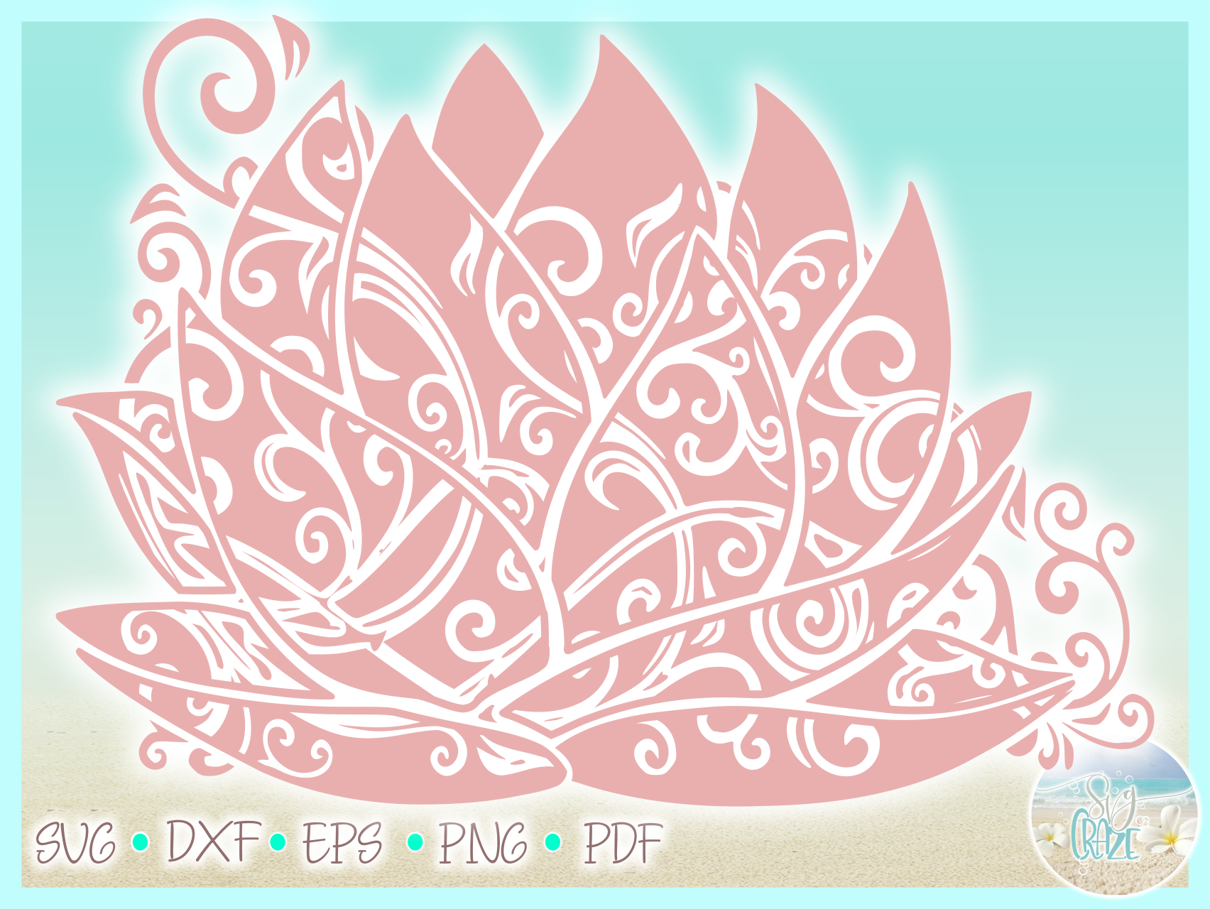Lotus Water Lily Flower Mandala Svg Dxf Eps Png Pdf Files example image 3