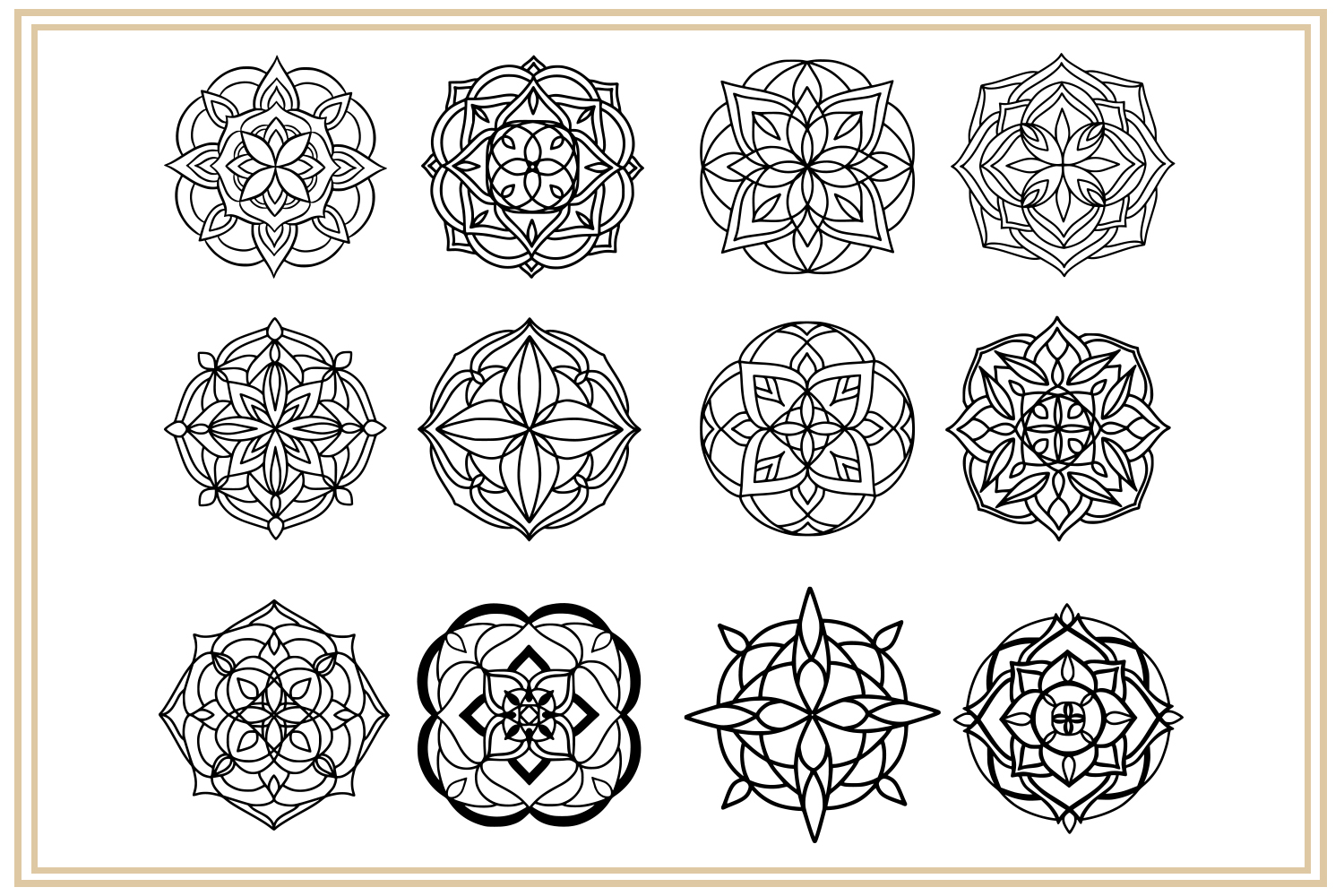36 hand drawn mandalas. EPS, PNG, SVG Designs example image 2