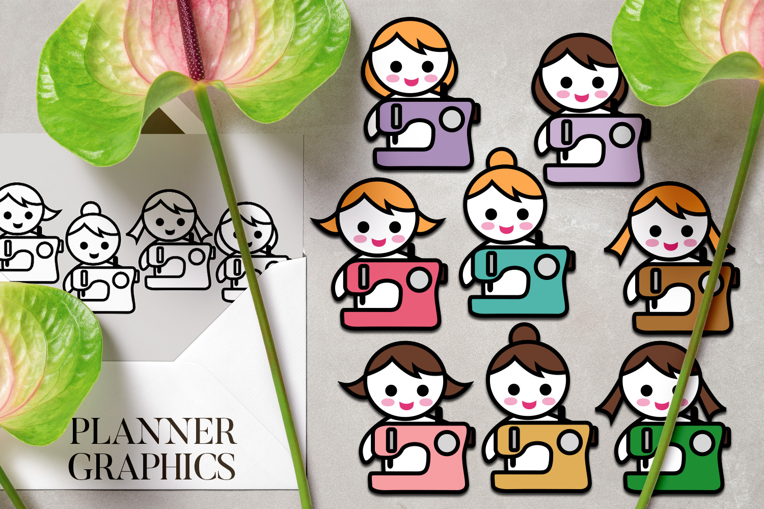Hobby illustrations bundle - planner sticker graphics example image 5