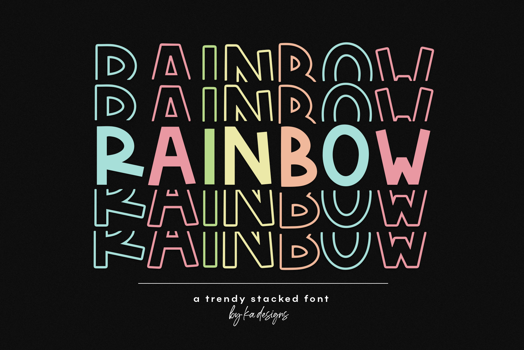 Rainbow - A Fun Stacked Font example image 1