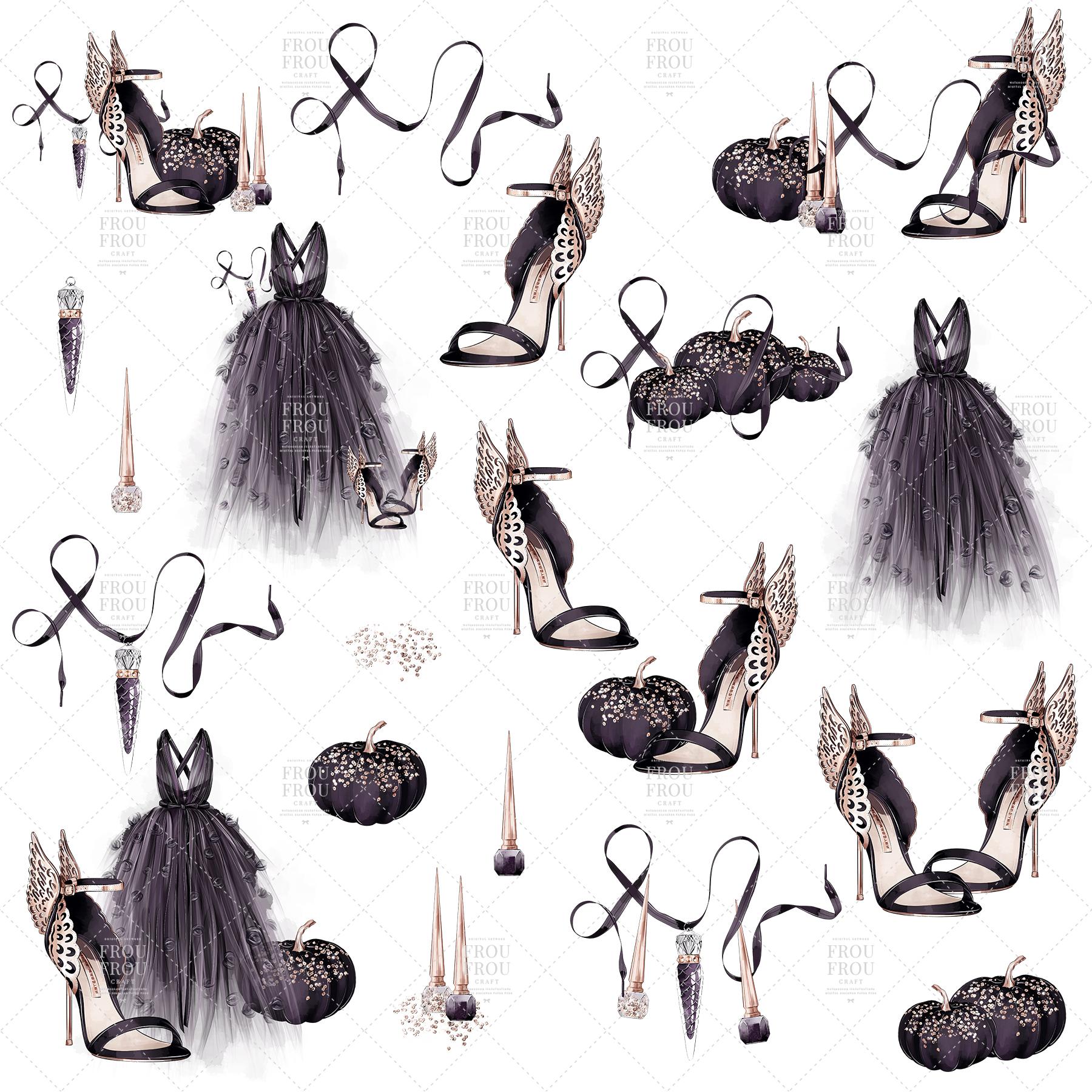 Halloween Fashion Black Dress Gold Jewelry Clip Art example image 6