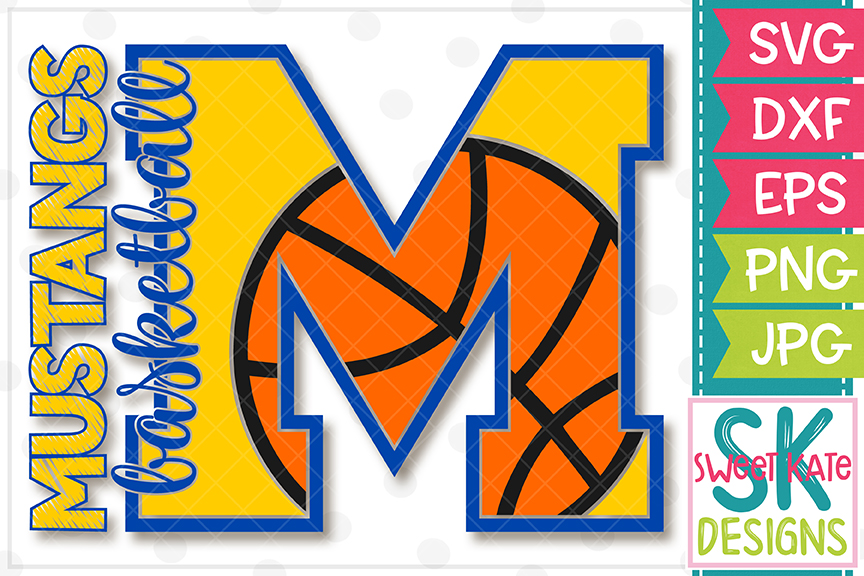 M Mustangs Basketball SVG DXF EPS PNG JPG example image 3