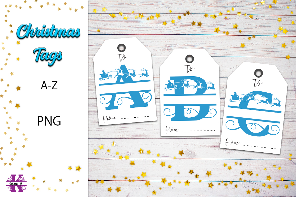 Christmas Monogram Tags- A-Z PNG example image 1