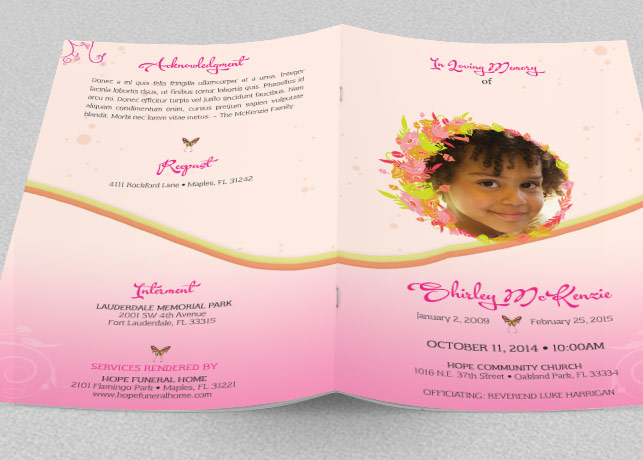 Pink Floral Funeral Program Template example image 2