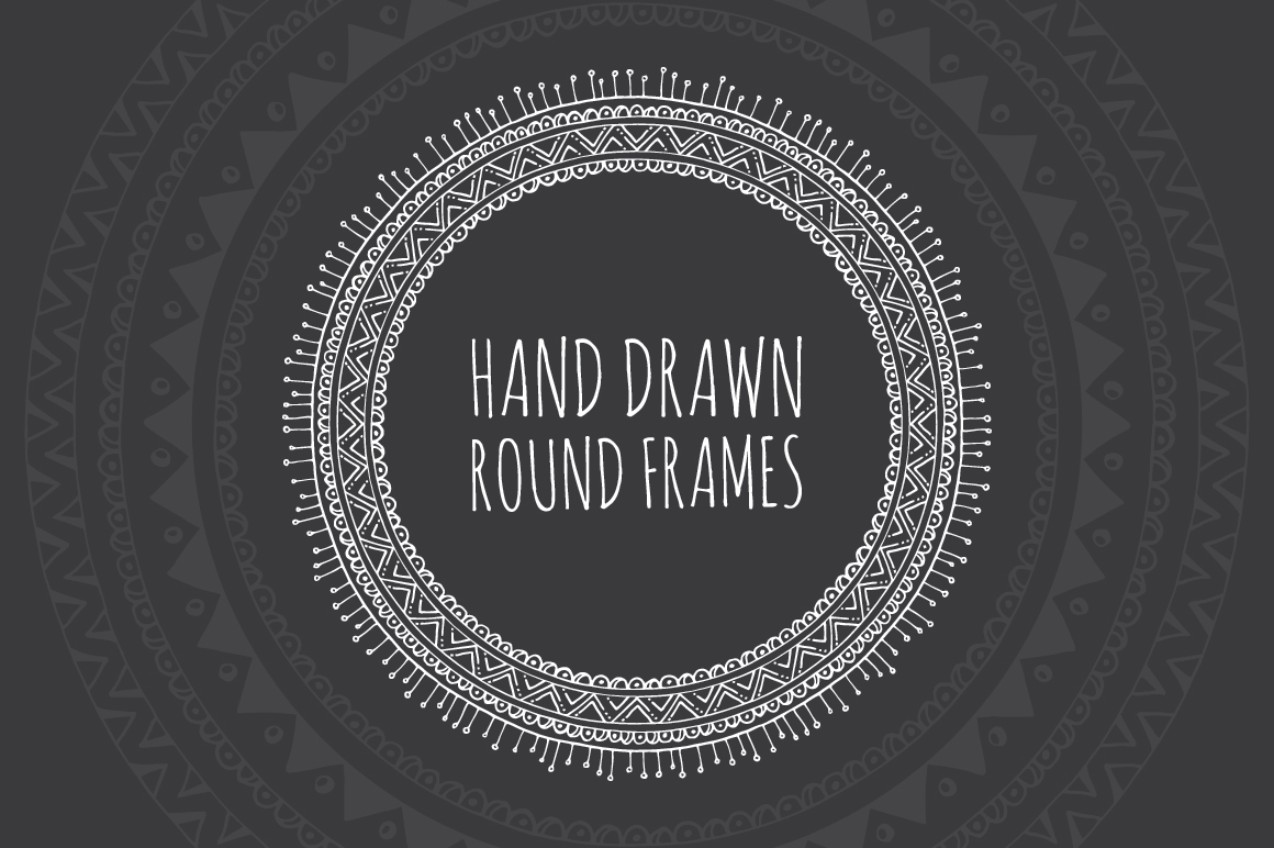10 Hand Drawn Decorative Round Frames example image 1