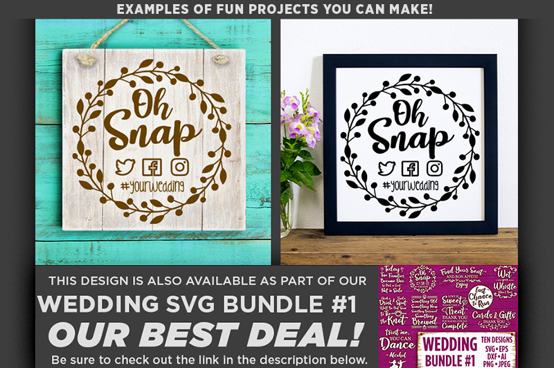 Oh Snap SVG Wedding Sign - Take Photos Wedding Sign - 5508 example image 2