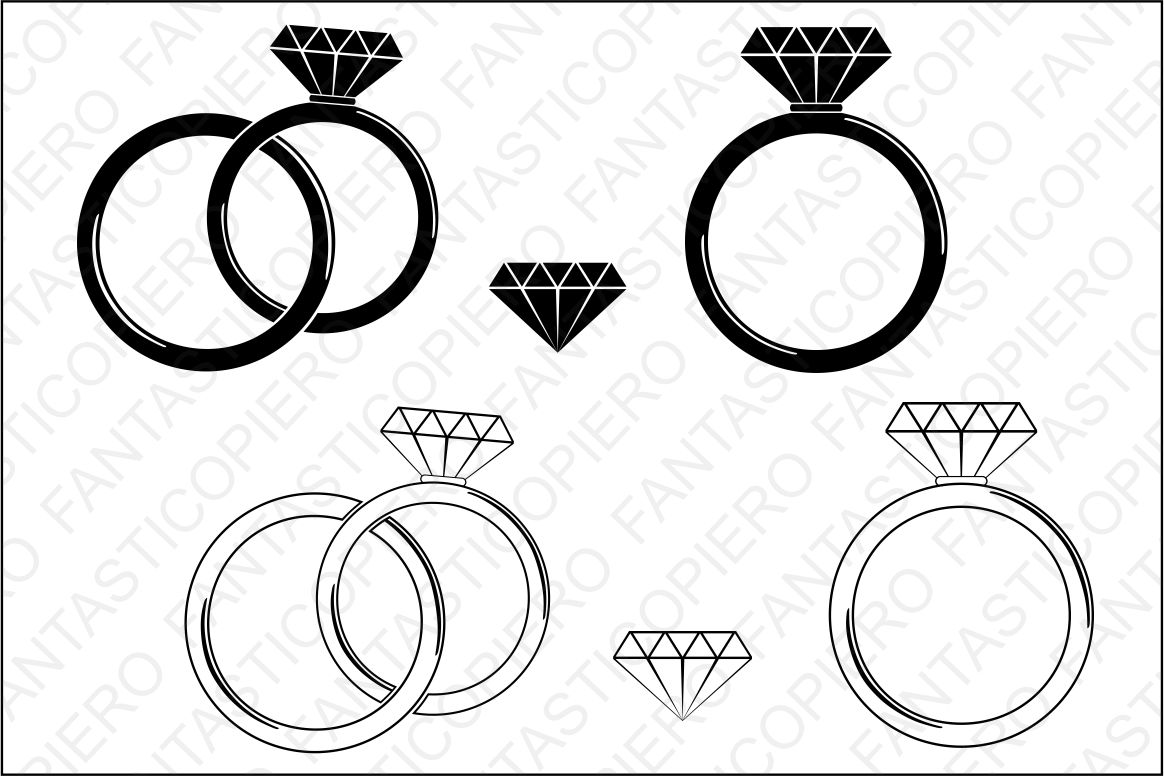 Diamond Ring SVG cutting files for Silhouette and Cricut. example image 1