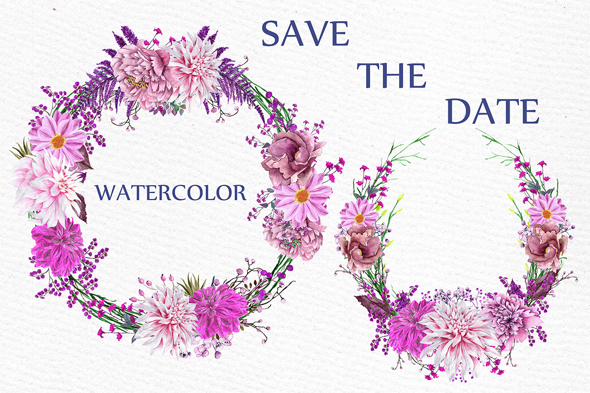 Watercolor Pink Wreaths Clipart example image 3