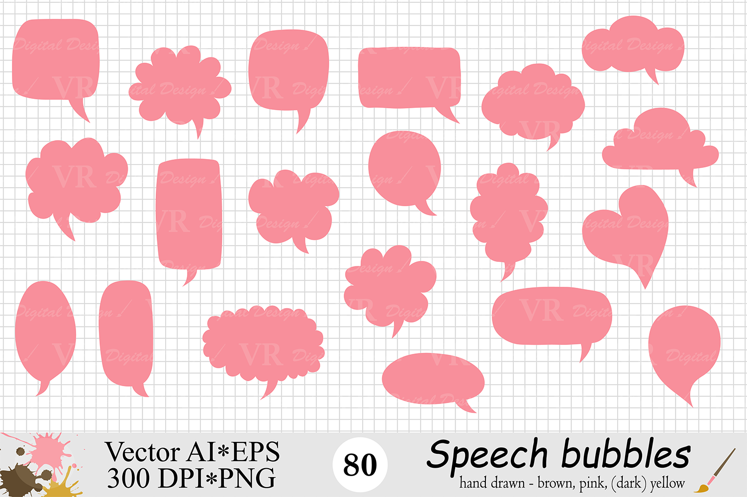 Speech Bubbles Clipart / Chat Bubbles / Hand drawn Text bubbles / Brown, Pink, Yellow - Vector example image 2