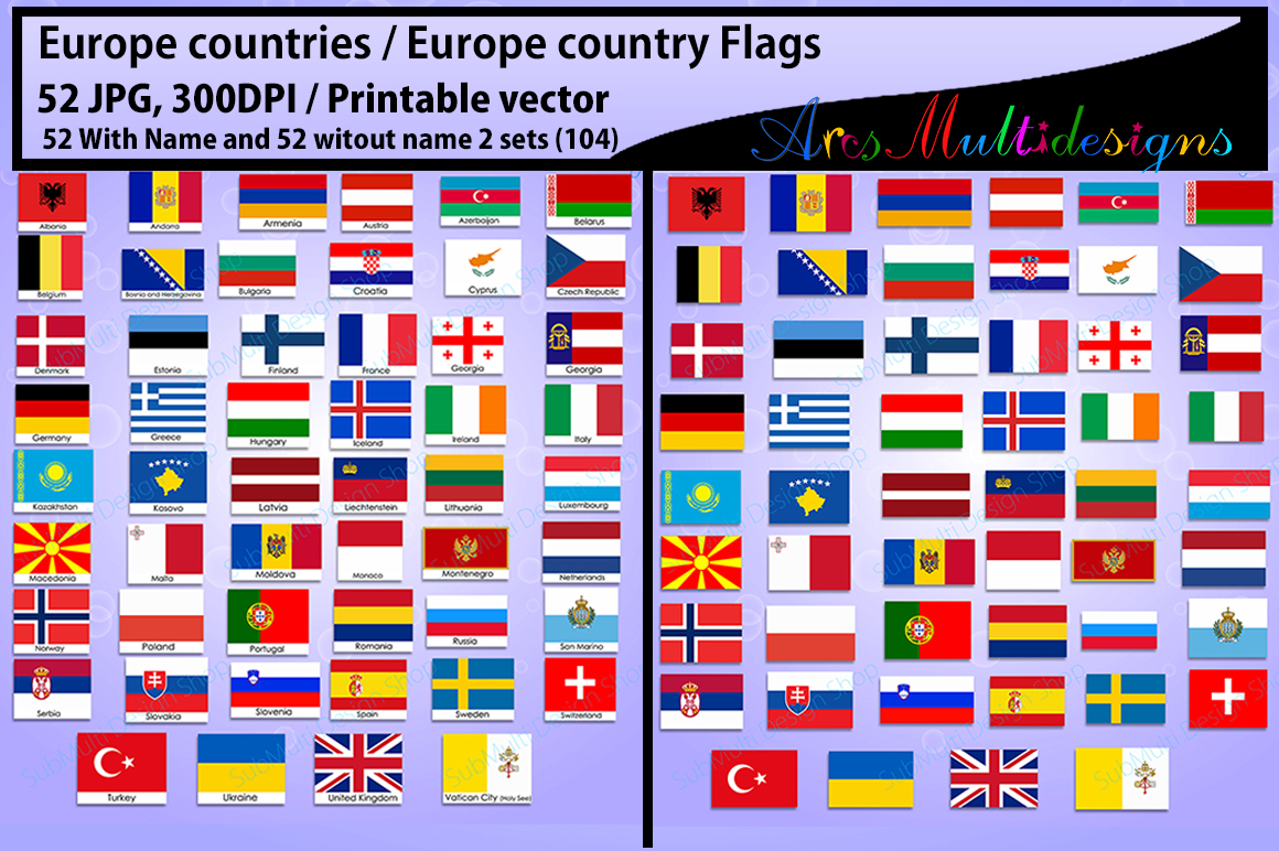 Europe countries / Europe country Flags / country flag / 300DPI / Vector flags / flag clipart and silhouette / printable flag/ digital flag example image 4