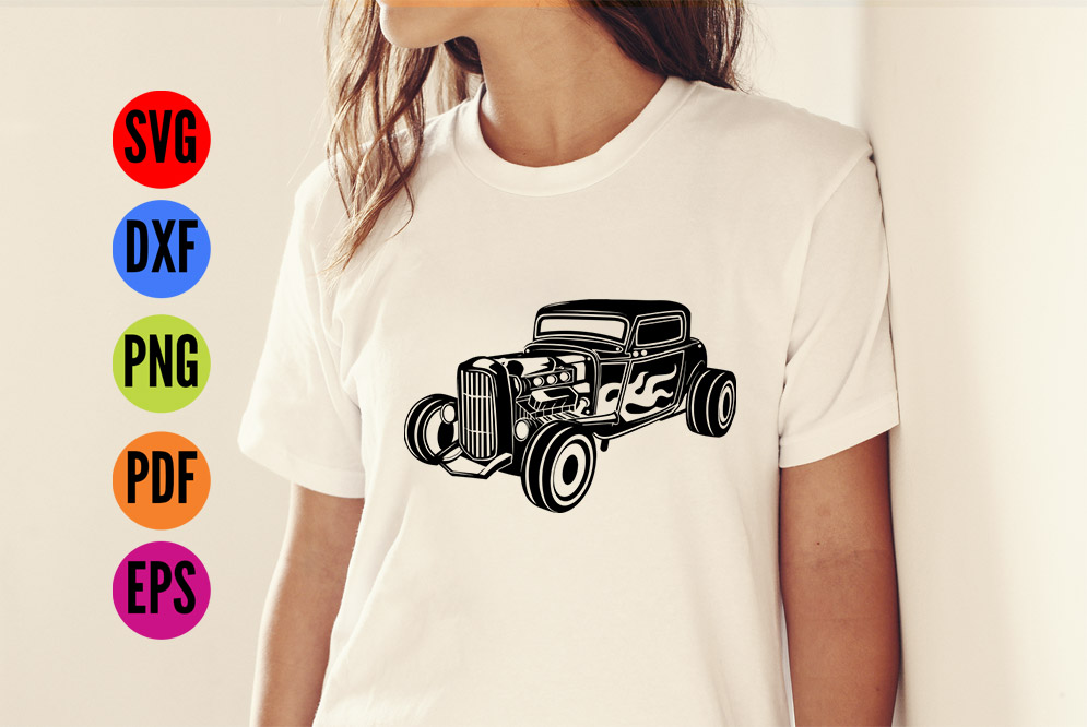 HotRod Classic Truck  SVG Cutting File  example image 3