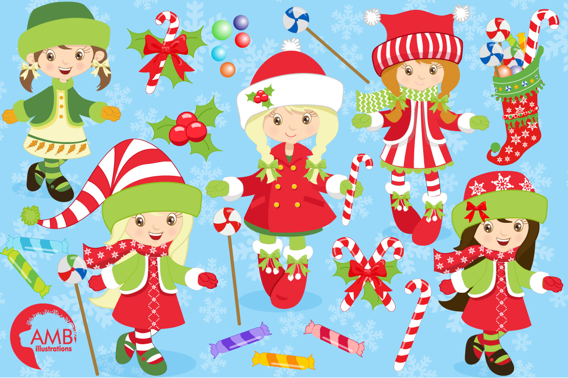 Christmas girls clipart, graphics, illustrations AMB-189 example image 5
