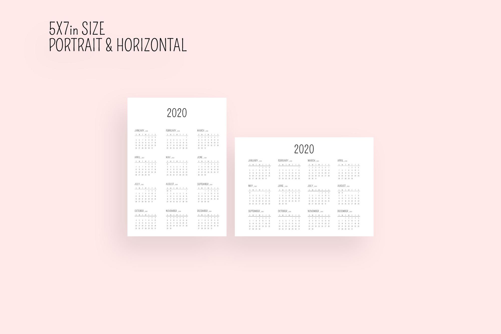 Minimal Calendar 2020 Template example image 4
