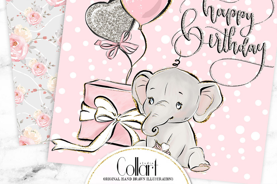 Elephant digital paper, baby girl papers, seamless patterns example image 7
