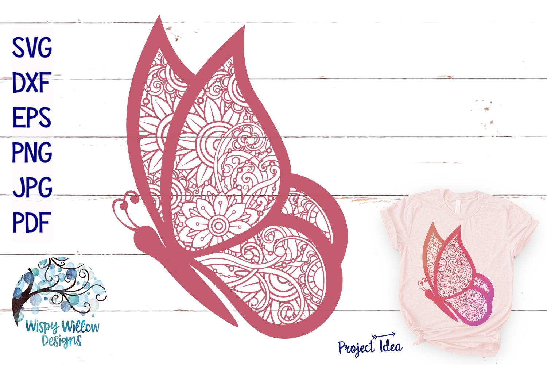 Butterfly Zentangle SVG | Animal Mandala SVG | Summer SVG example image 1