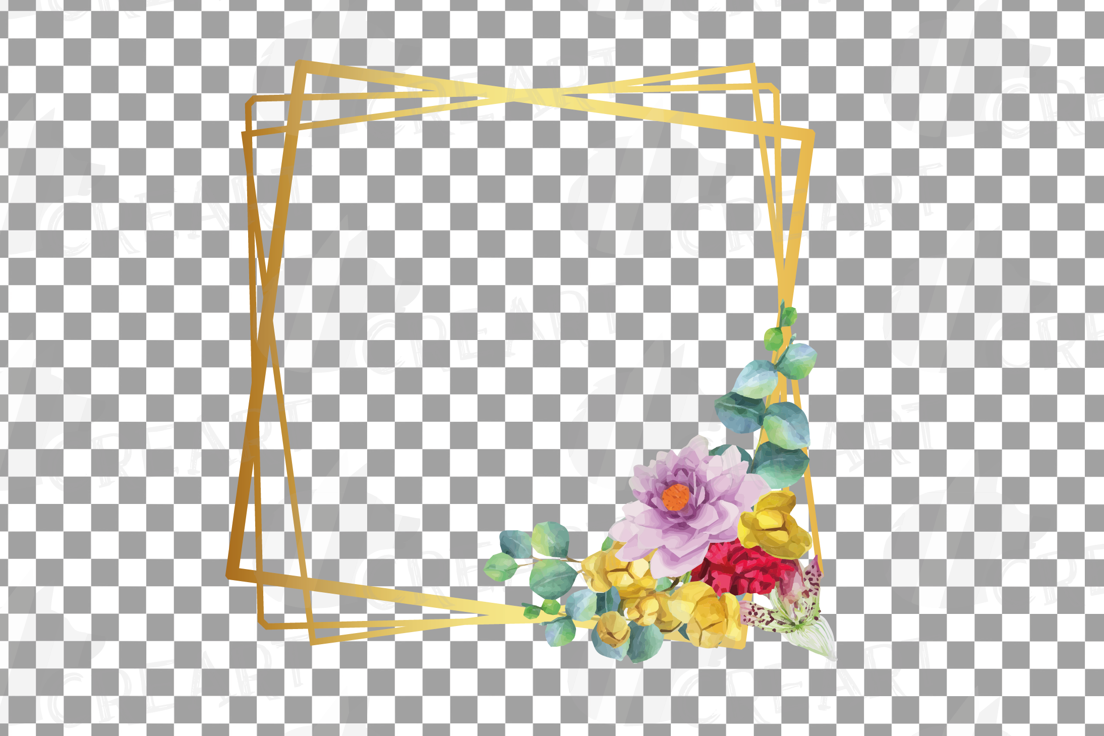 Watercolor floral golden frames and borders clip art pack example image 6