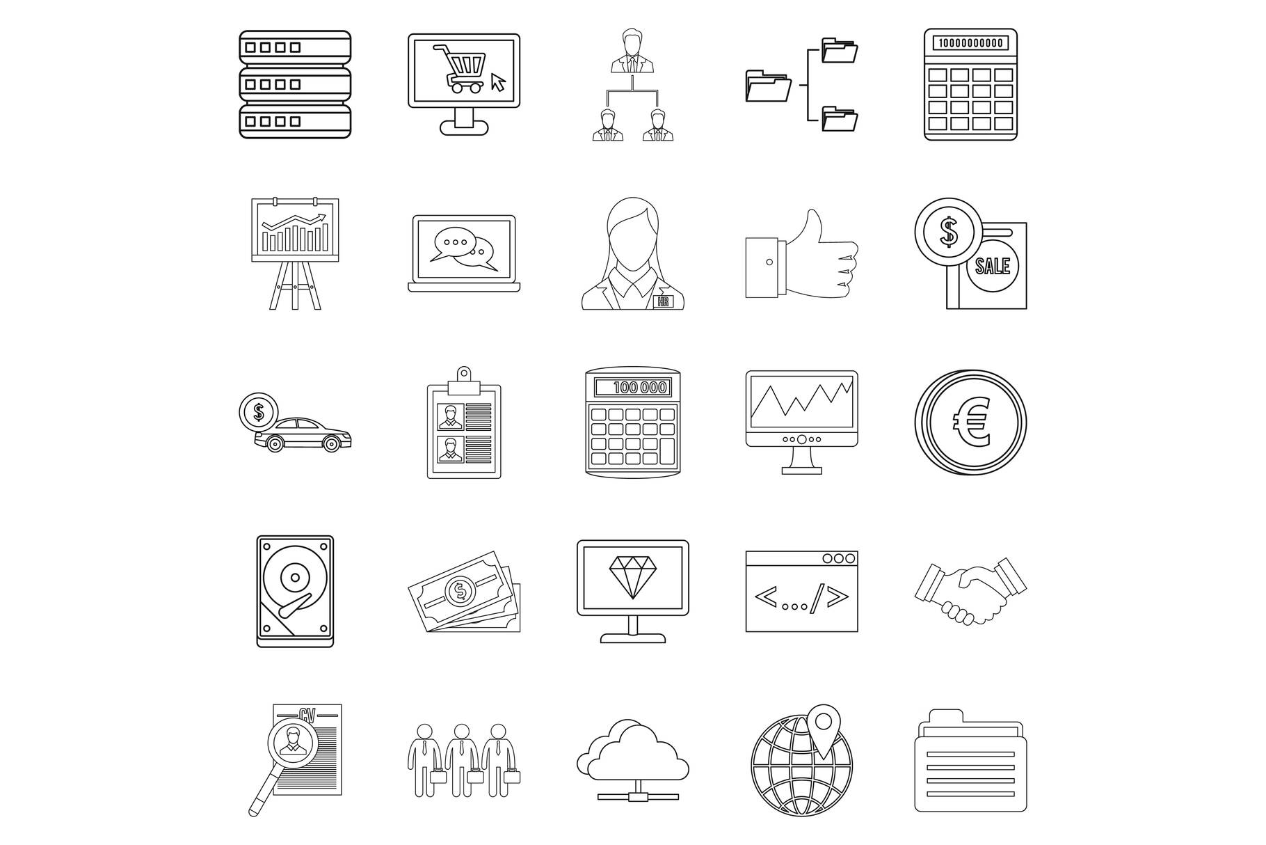 Financier icons set, outline style example image 1