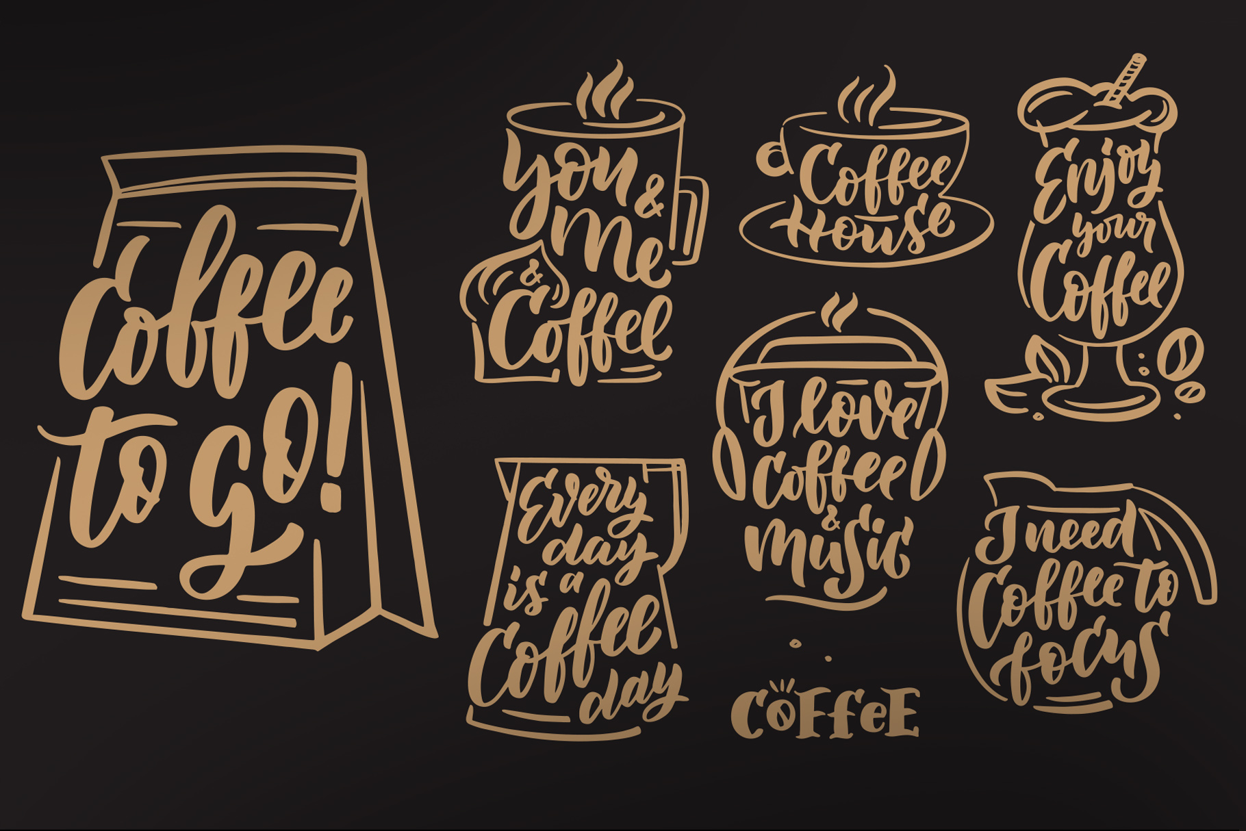 Coffee lettering clipart, vintage example image 4