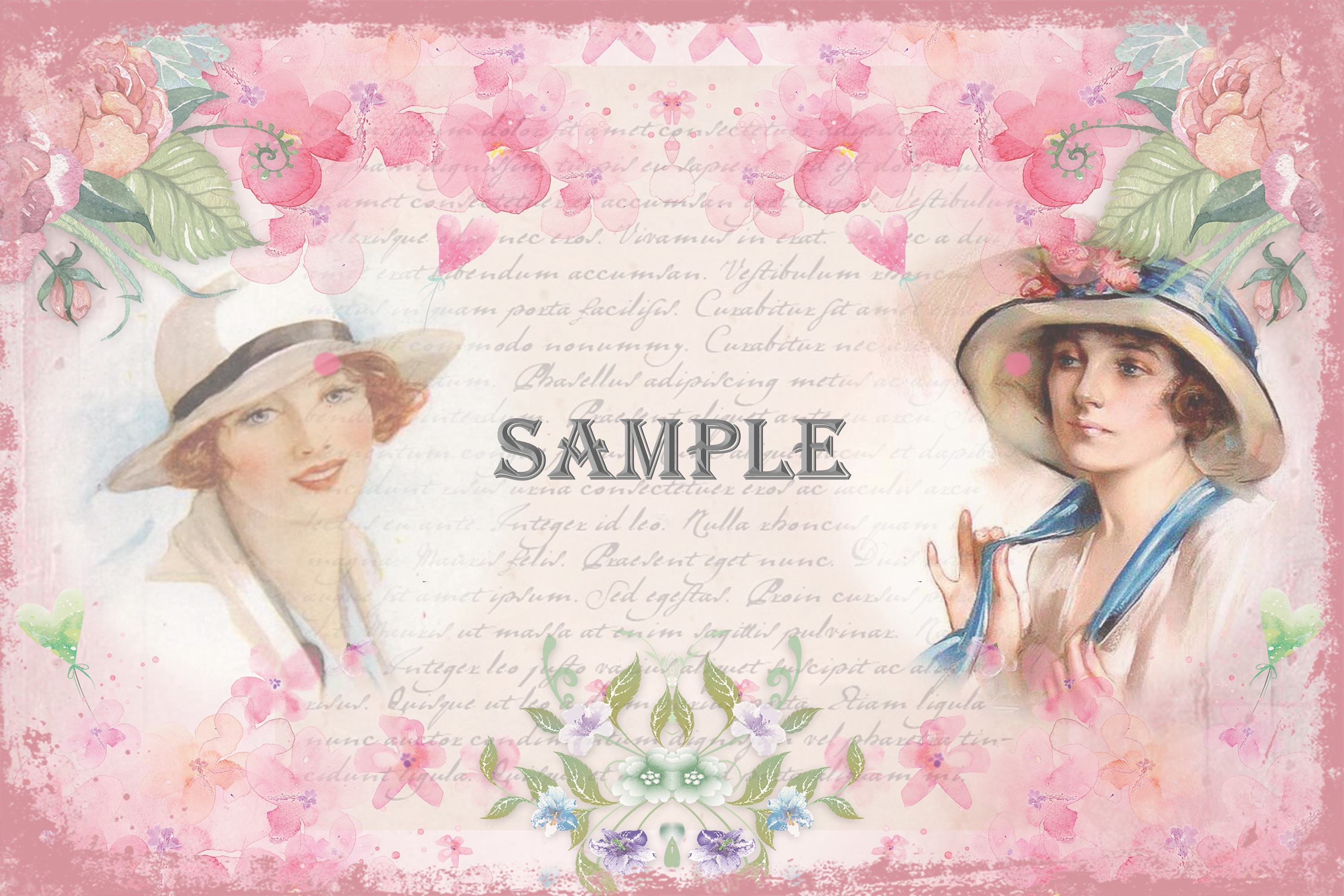 Vintage Ladies Backgrounds, Collage or Journal Sheets, A4 example image 2
