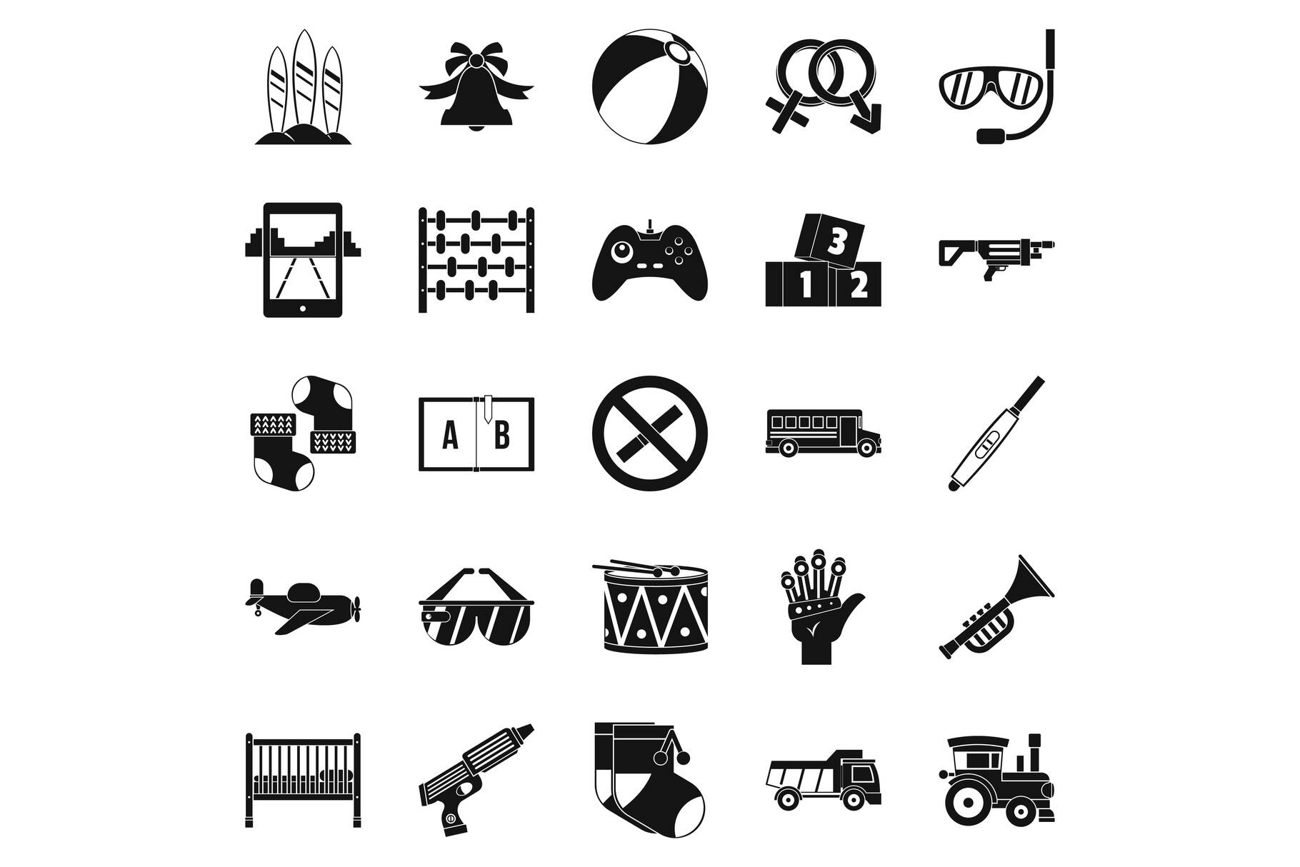 Children playroom icons set, simple style example image 1