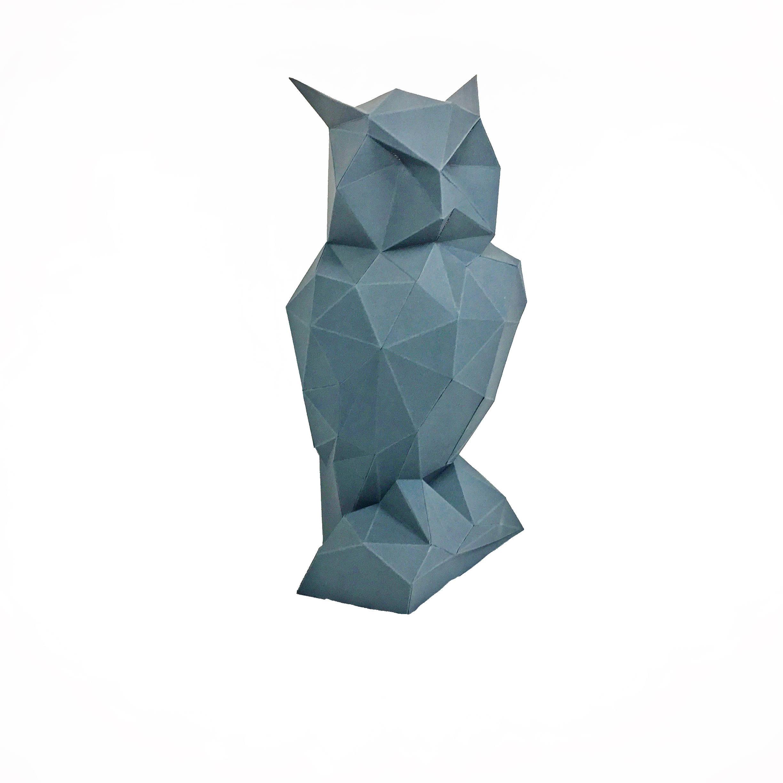 Night Owl, Papercraft Owl, Paper Owl, Animal Trophy, Loft Decor, Home Decor, 3D papercraft model, animal head, lowpoly DIY, hobby idea, DIY example image 10
