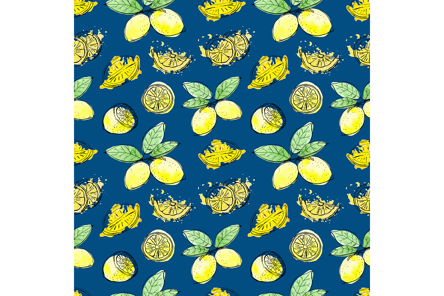 Sketch lemons. Watercolor. Vector. example image 7