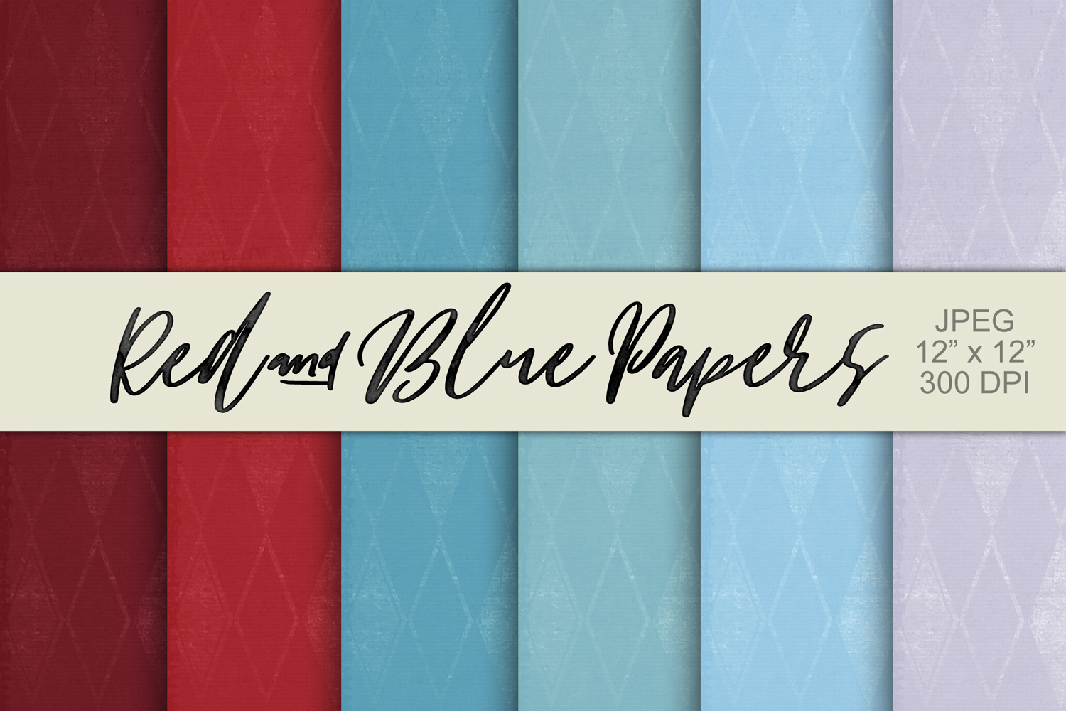 Digital Paper Textured Backgrounds - Red & Blue example image 1