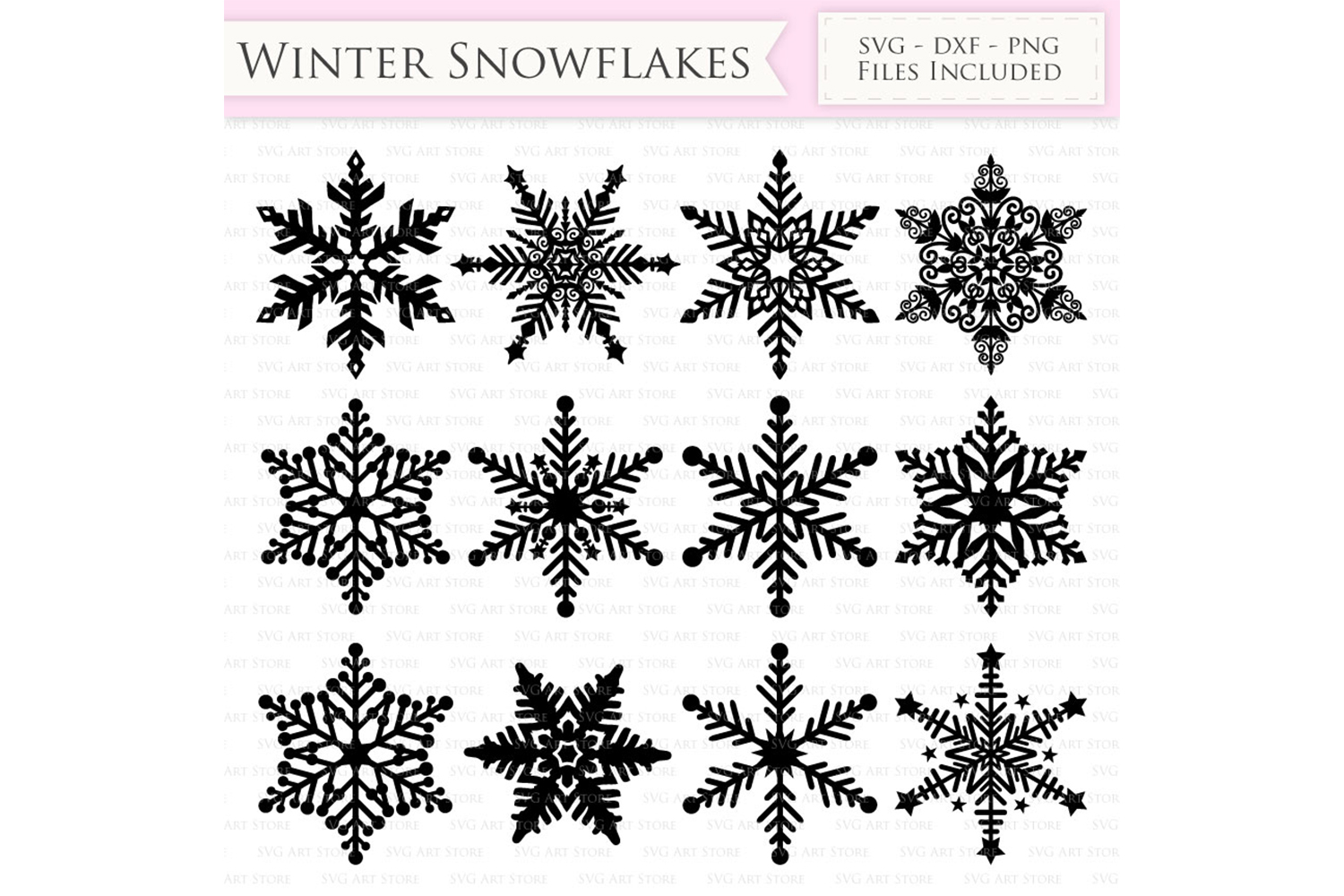 Winter Snowflakes SVG Snow svg cutting files Cricut and Silhouette SVG dxf png jpg included. Christmas Snowflake cutting files example image 1