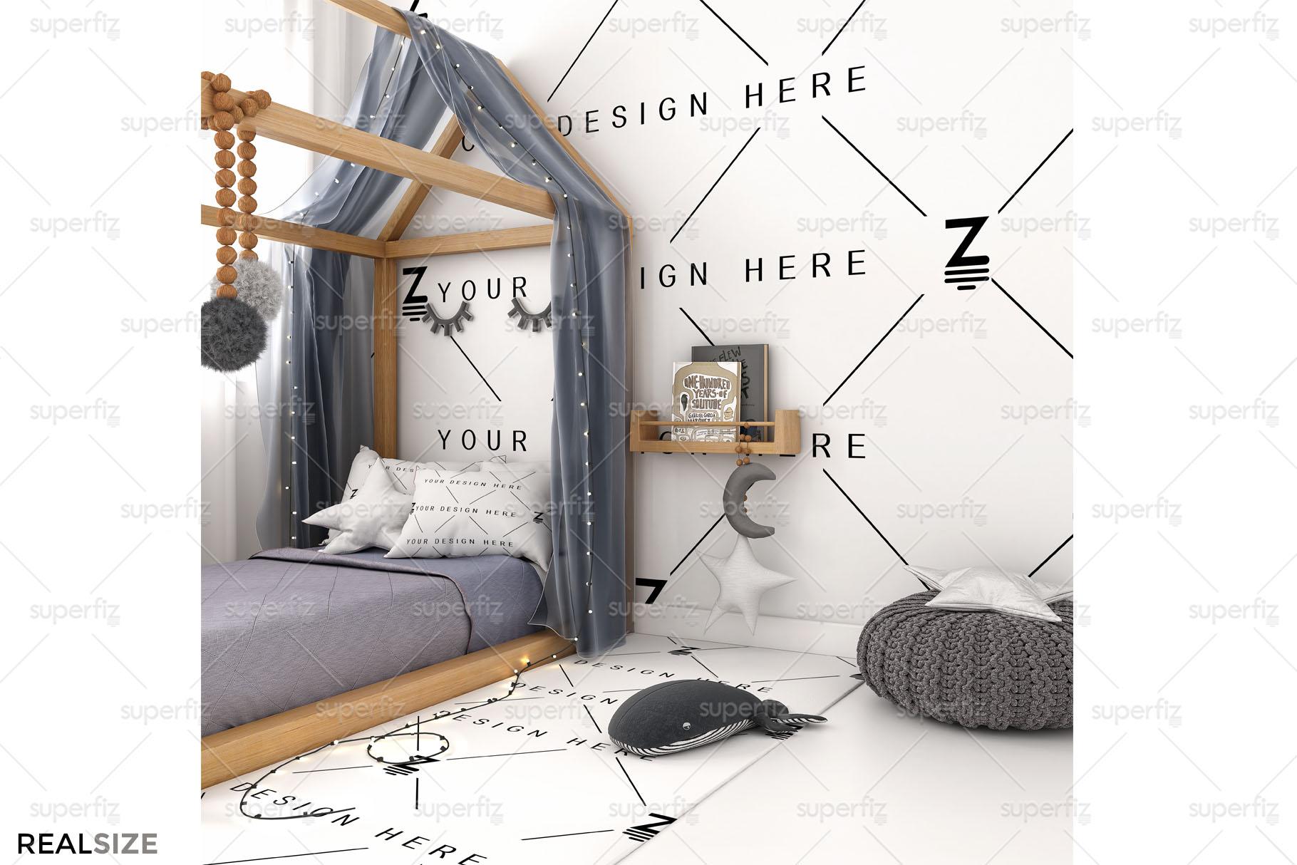 Wallpaper Mockup Kids Bedroom SM59 example image 3