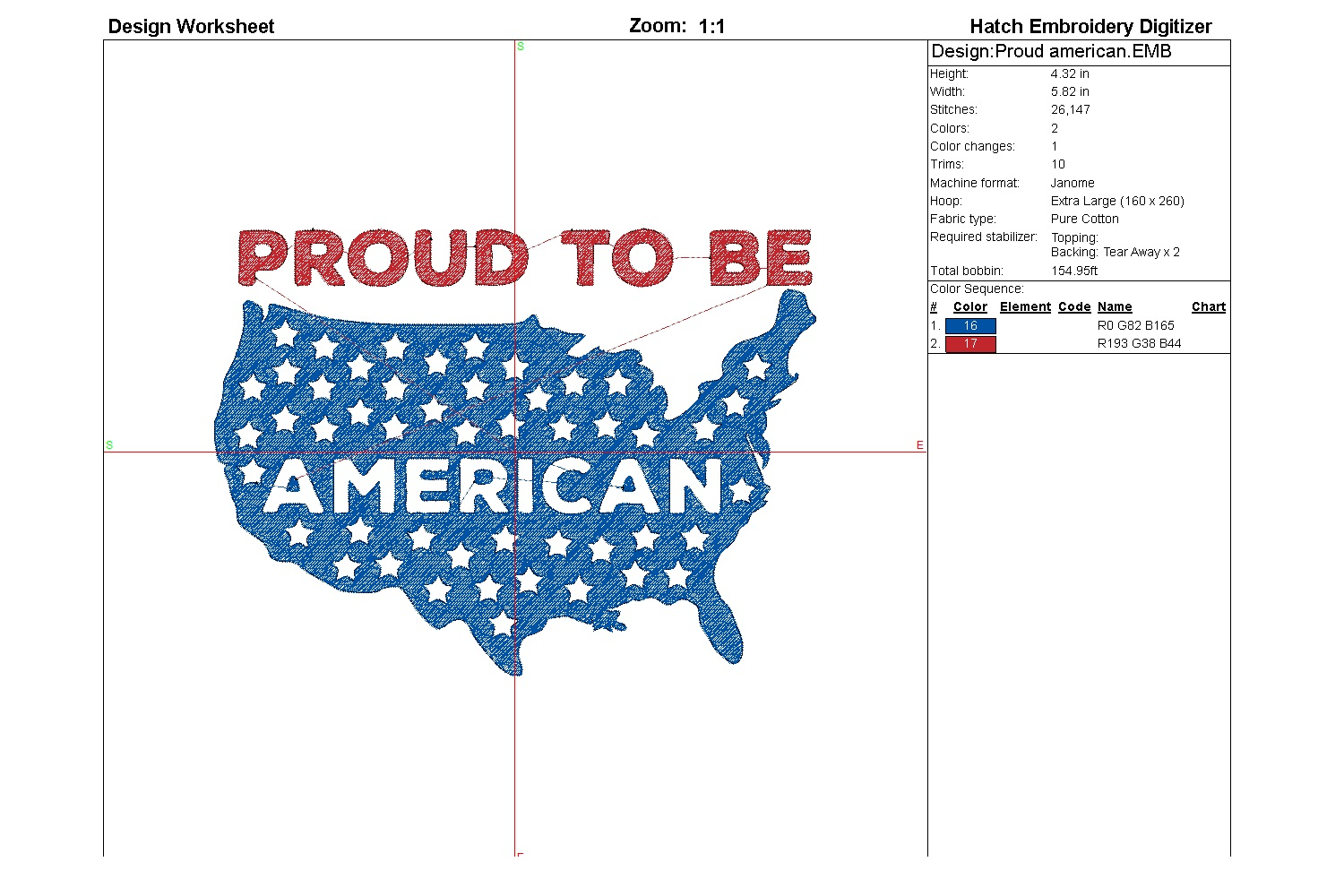 Proud American| Independence day | Machine embroidery| example image 4