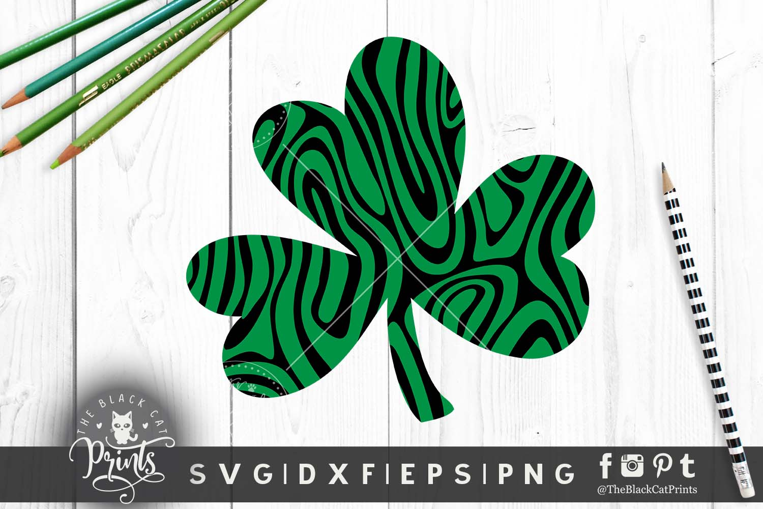 Shamrock Clover Clipart SVG DXF EPS PNG example image 3