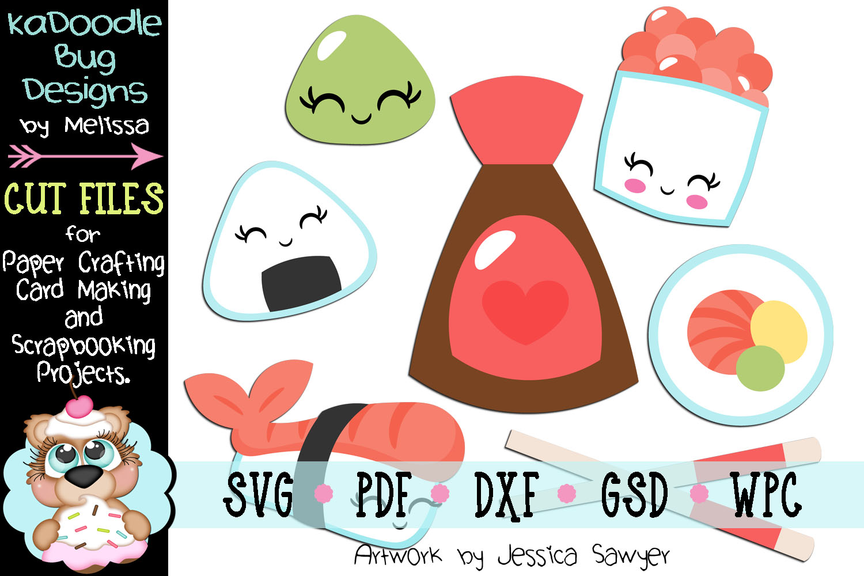 Cutesy Sushi Cut File - SVG PDF DXF GSD example image 1