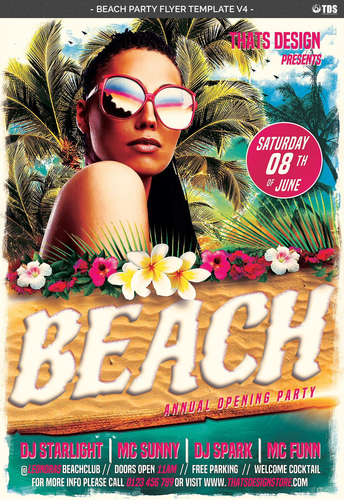 Beach Party Flyer Template V4 example image 4