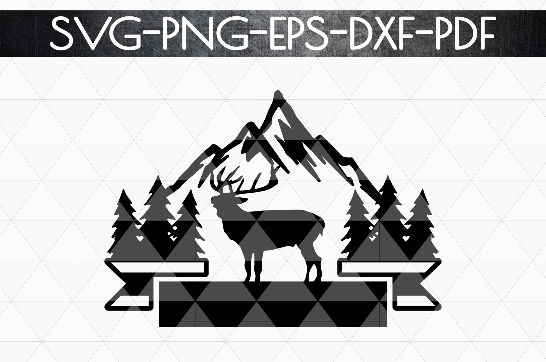 Wild Reindeer Sign Papercut Template, Adventure SVG, DXF PDF example image 4