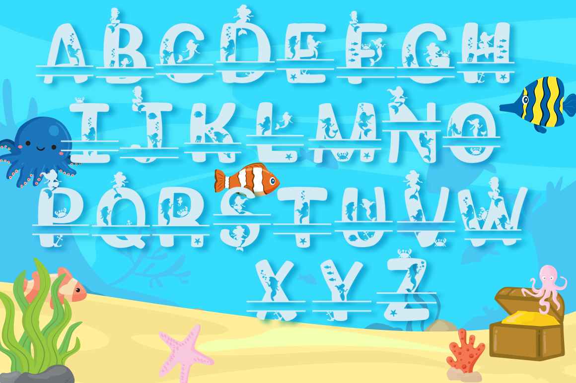 Mermaid Alphabet and Split Letters SVG Cut Files Pack example image 3