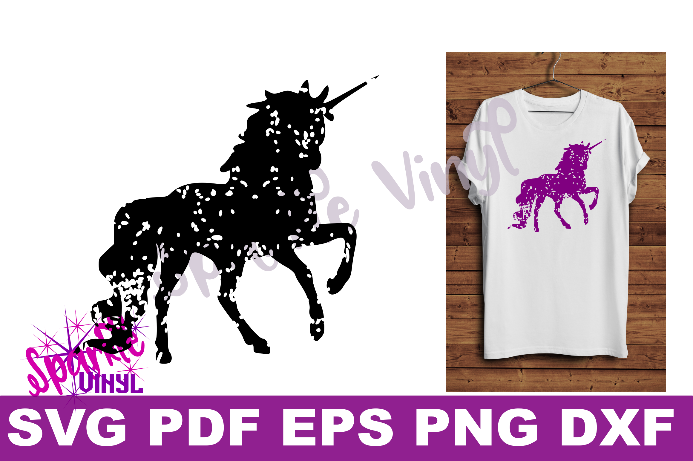 Svg Distressed Grunge Unicorn silhouette svg design files for cricut or silhouette, Vintage look unicorn  example image 2