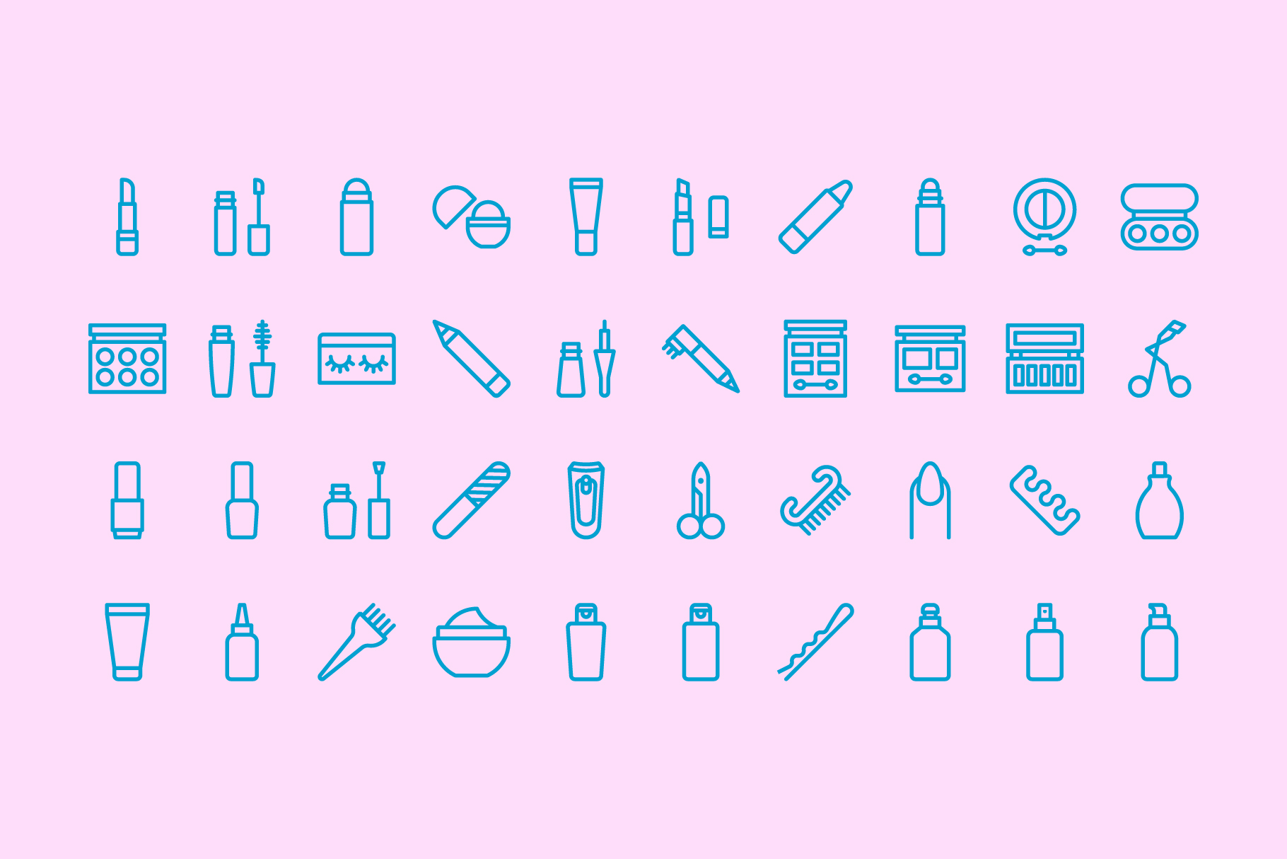 80 Beauty & Makeup Line Icons example image 6