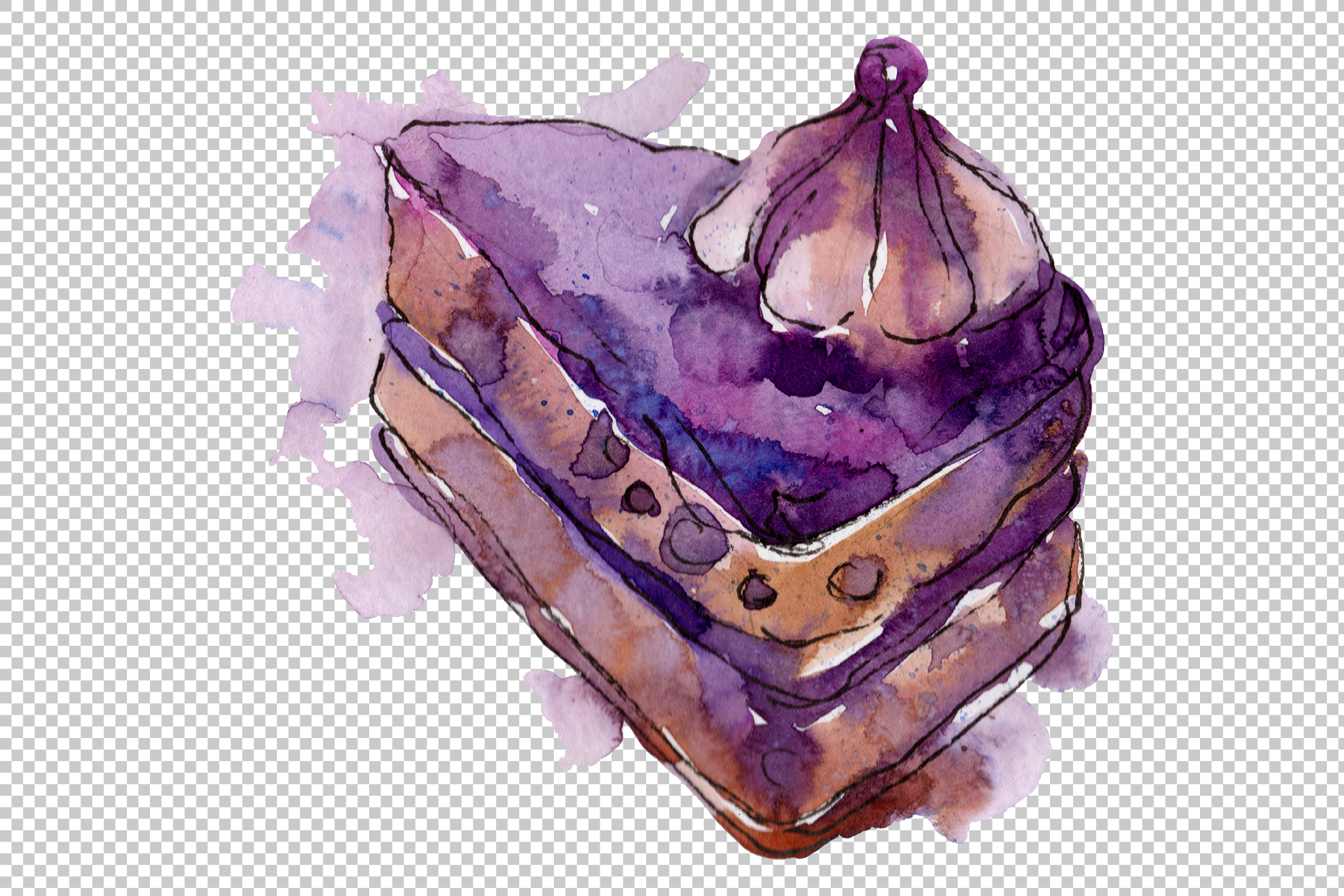 Sweet yummy cake Watercolor png example image 2