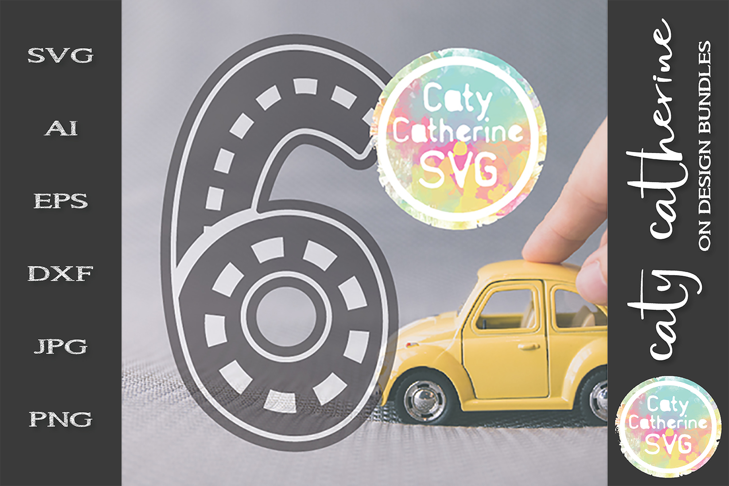 Road Map Kids Birthday Number Six SVG Cut File example image 1