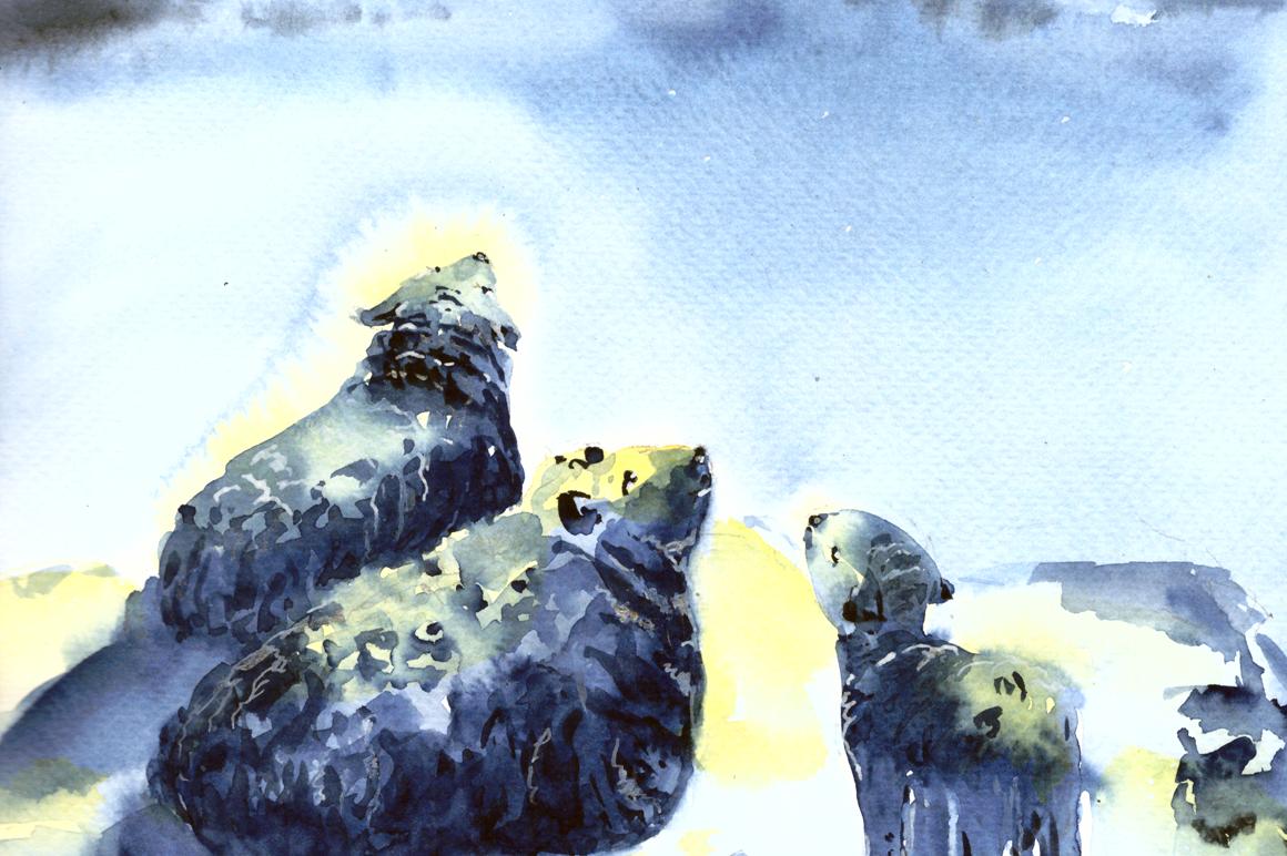 Watercolor Christmas Night Print example image 2