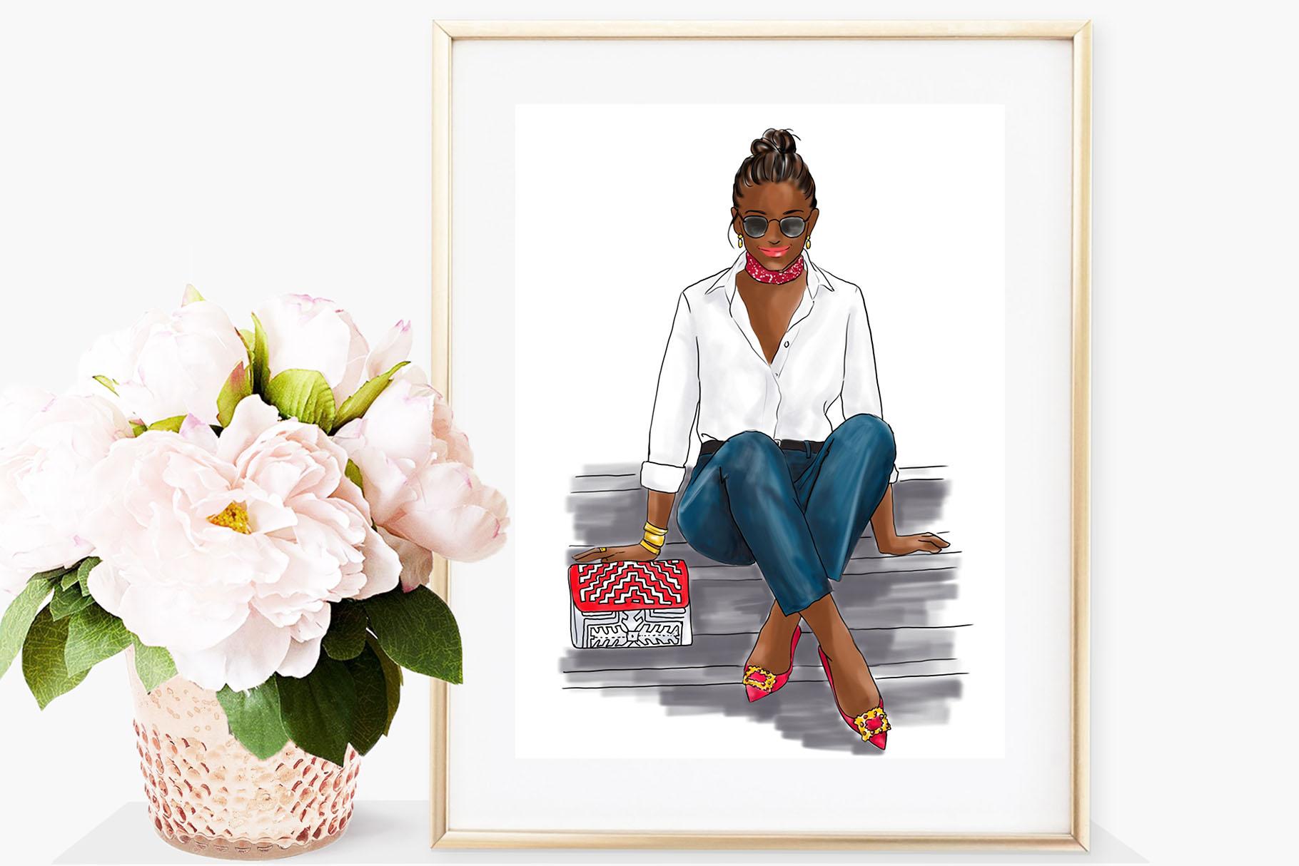Fashion illustration - Girl in White Shirt & Jeans - Dark example image 4