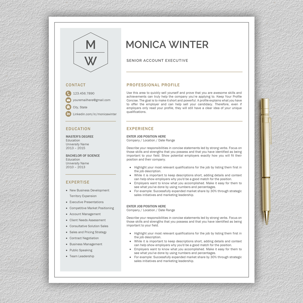 Resume Template / CV Template / Cover Letter example image 3