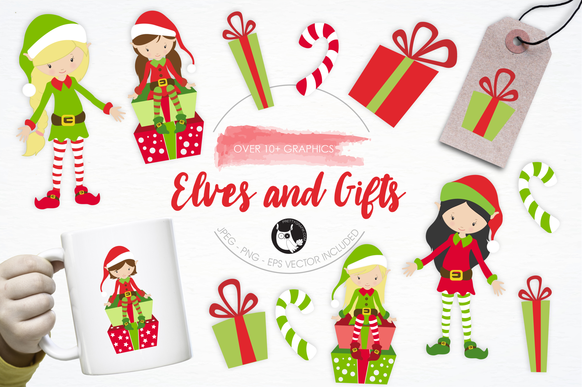 Elves and Gifts graphics and illustrations example image 1