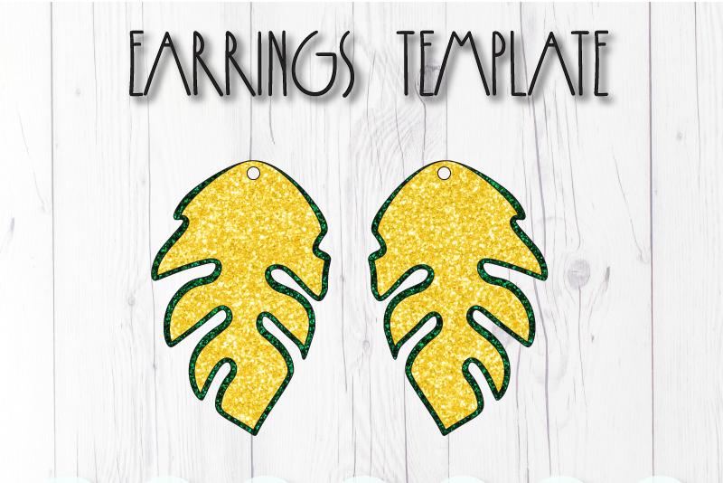 Leaves earrings template SVG, DIY earrings template example image 1