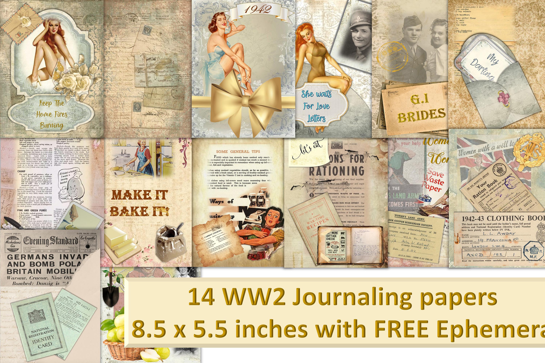 12 Page WW2 Junk Journal Kit with FREE Ephemera Pack. CU example image 1