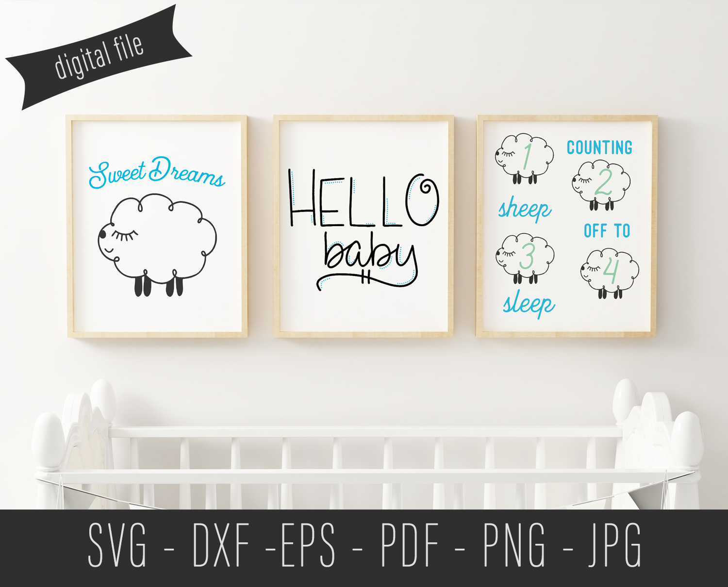 Counting Sheep Nursery Print - SVG Cut File example image 2