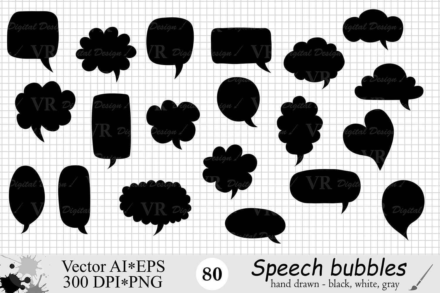 Speech Bubbles Clipart / Chat Bubbles / Hand drawn Text bubbles / Black, White, Gray - Vector example image 2